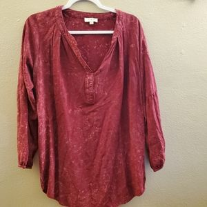 Umgee Red Long Sleeve Scoop Neck Tunic Top